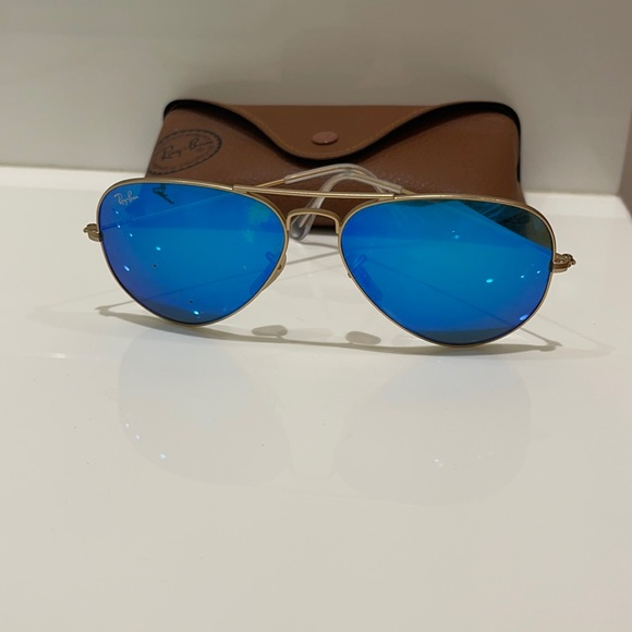 Blue and gold aviator ray bans